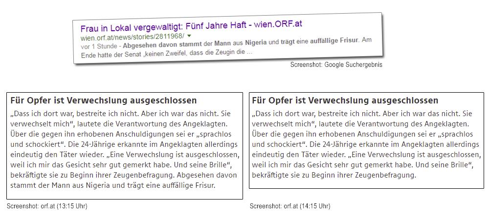 ORF vs. KronenZeitung vs. APA-Kopien