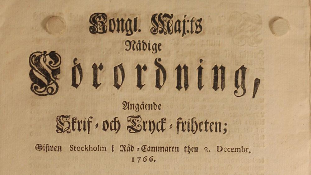 Tryckfrihetsförordningen: 250 Jahre Pressefreiheit in Schweden